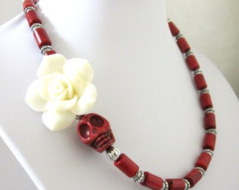 White Rose Skull Necklace Day of the Dead Red Necklace