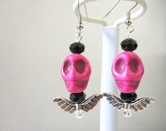Skull Earrings Wings Day of the Dead Earrings Sugar Skull Jewelry Hot Pink Black