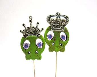 Green Sugar Skull Cake Toppers King Queen Day of the Dead Lapel Pin Wedding Hat Pin
