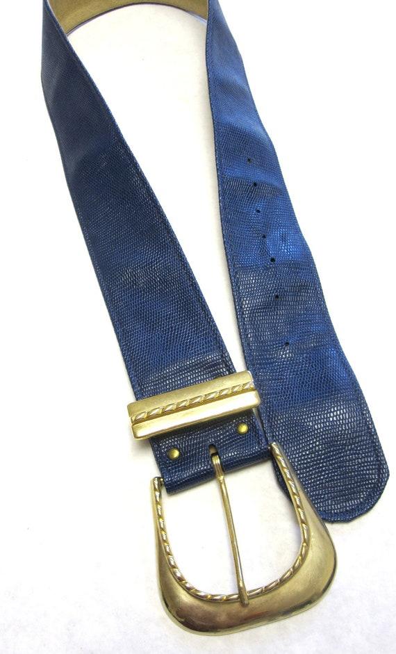 wide navy blue cinch belt vintage shiny by