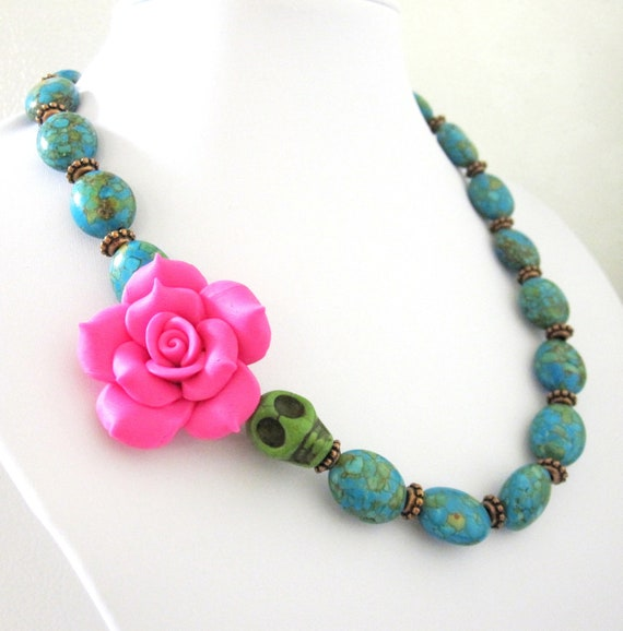 Skull Necklace Hot Pink Rose Day of the Dead Sugar Skull Necklace Mosaic Turquoise Blue