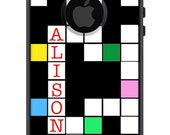 Custom OTTERBOX COMMUTER iPhone 6 Plus 5 5S 5C 4/4S Galaxy S3 S4 S5 Note 2 3 Case Crossword Puzzle Multi-color Personalized Monogrammed A1