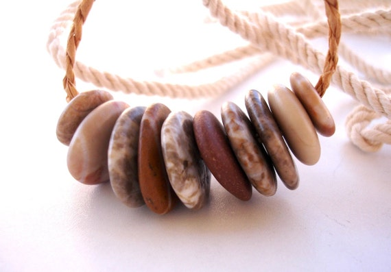 Beach Stone Cairn Stacks - PATTERN WHEELS by StoneAlone - Natural Stone Cairn Stacks, Pebble Jewelry Making Beads