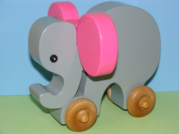Wooden Toy Elephant on the Go - PINK LADY ears