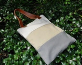 Big Striped Canvas Tote Bag with Leather Strap - Creamy, Walnut and Grey