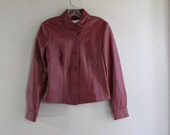 xs genuine leather maroon red vintage jacket- SALE