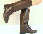 vtg 80s sleek brown leather LACE UP Riding BOOTS tall 10 boho flat knee high equestrian