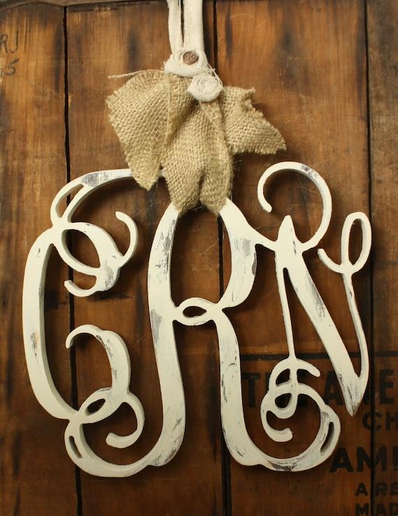 "14"" Distressed Wood Vine Monogram wreath Shabby chic wedding or door decor 14 INCH"
