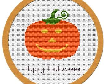 Halloween Pumpkin Cross Stitch Pattern PDF File