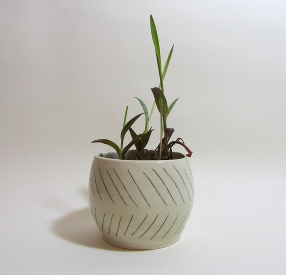 Geometric Diagonal Dark Green Lined Ceramic Planter