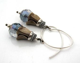 Petal and Blue Earrings - Blue Crystal Earrings - Modern Vintage Earrings in Blue Silver Bras