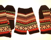 "Yellow red green brown CUSTOM MADE knit wool mittens ""never-apart"" couple gift"