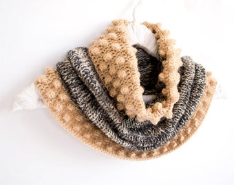 Multicolor Cowl in Beige and Grey, Hand-knitted Winter Accessories, Bohemian Scarf