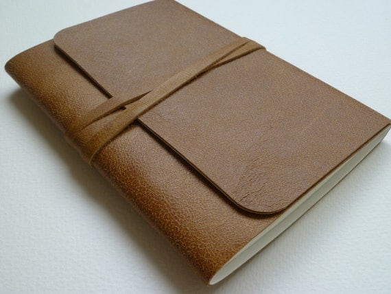 Leather Bound Artist Sketchbook Traditional Tan With  Antique Appearance Handmade