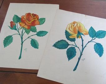 SALE, SALE, SALE!  Vintage Handpainted Flower Art--Original Art