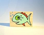 Fish colorful wood art blocks