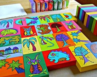 Fun Wood Art Blocks animals trees bugs ocean