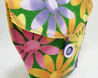 Flower Power Flannel Bicycle Handlebar Bag