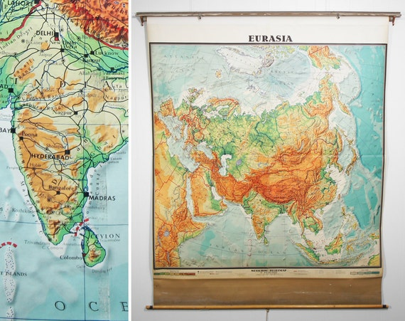 Huge Vintage 1960's  Eurasia Pull Down Classroom Map, Made in West Germany