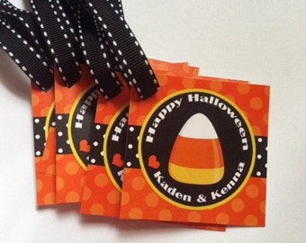 Personalized Halloween Treat Tags or Labels - Candy Corn Favor Tags