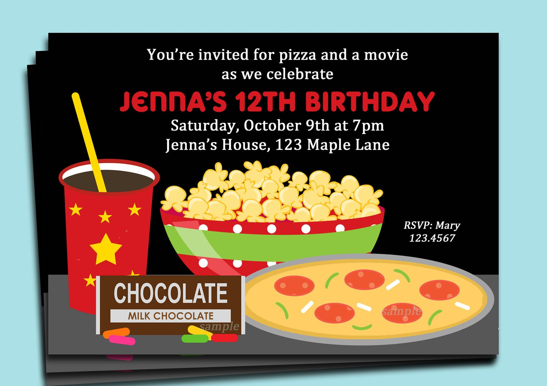 Movie Night Invitation Printable Pizza Candy Soda And