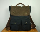 City Backpack in Black Twill/ Backpack/ Men/ Laptop Bag/ Brown Suede/ Handmade in New York