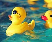 Kid's Room Art, Rubber Ducky Photography, Funny Bathroom Wall Art, Rubber Duckies Decor, Bright Yellow, Teal Blue Decor, Rubber Ducks 8x10