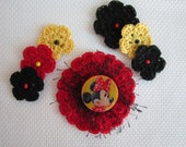 15% Off Summer Sale - Apple Red - Yellow & Black - Minney Mouse Crocheted Flowers - Scrapbooking - Embellishments - Applique