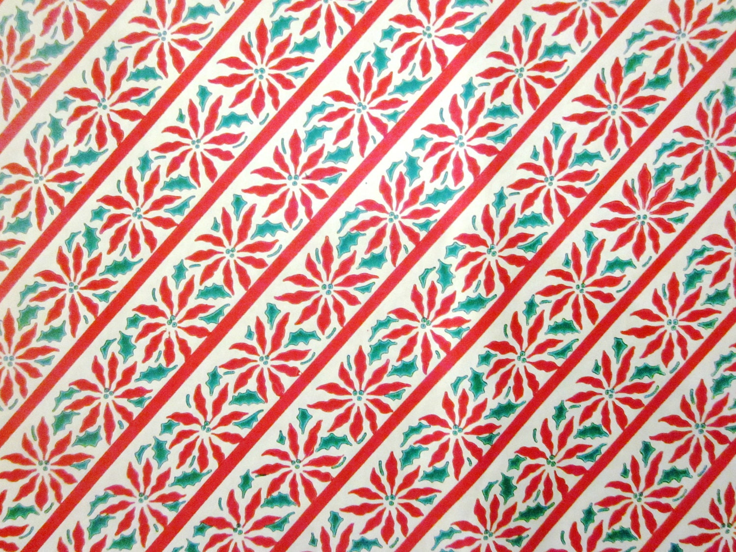 Vintage Wrapping Paper Poinsettia Pattern Full by TillaHomestead