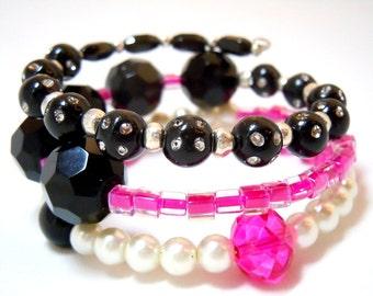 Hot Pink Black White Beaded Memory Wire Bracelet