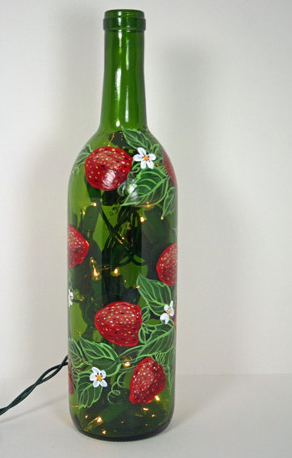Hand painted wine bottle light with strawberries green and for How to paint glass bottles