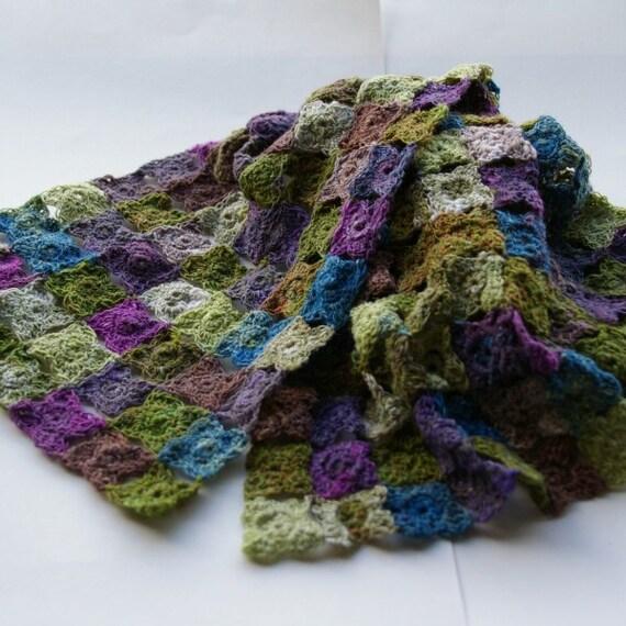 Handmade crochet flowers scarf in multi colors green brown purple blue. Noro. Accessory