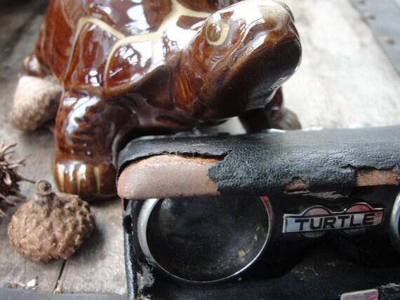 Vintage Turtle bank and binoculars/opera glasses
