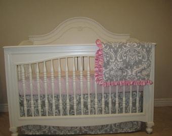 Gray Damask- 3 Piece Set Crib Bedding Set-No Bumper