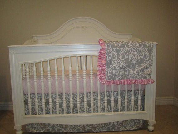 Gray Damask- 3 Piece Set Crib Bedding Set-No Bumper