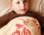 Toddler Blanket Tricycles in your choice of colors, Children's Gift Organic Cotton Tricycle Toddler Bedding Organic Blanket Gift for Toddler