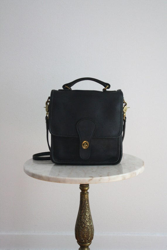 COACH Bag - Black Leather Brass Details - 1980s VINTAGE