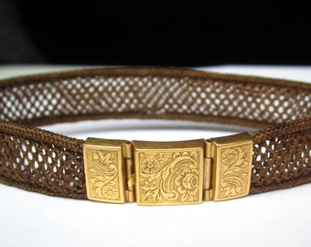Beautiful Victorian Etched Flowers 18K Gold Woven Hair Bracelet. Victorian Mourning Jewelry