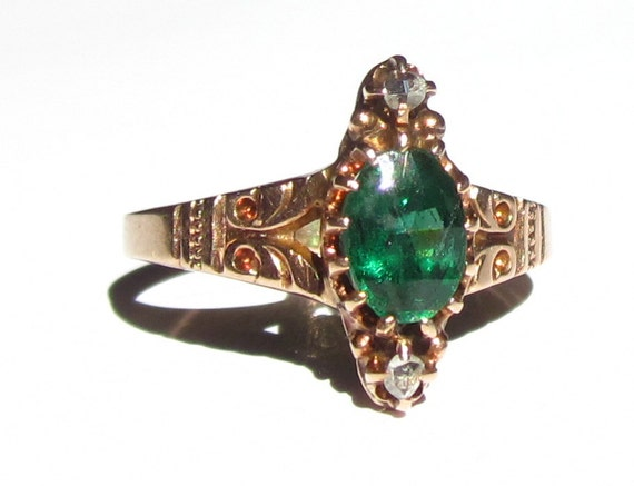 RESERVED LISTING- Antique Victorian Green Garnet and Diamond 10K RIng