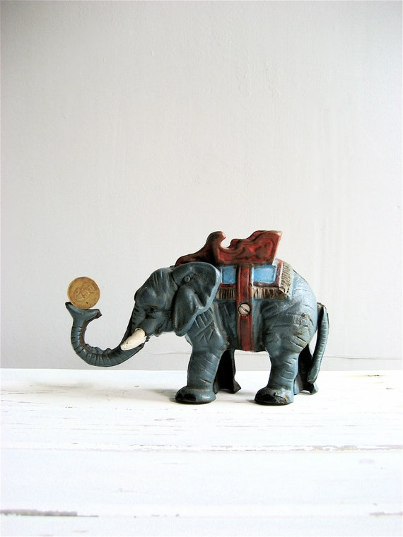 RESERVED Old Cast Iron Elephant Bank