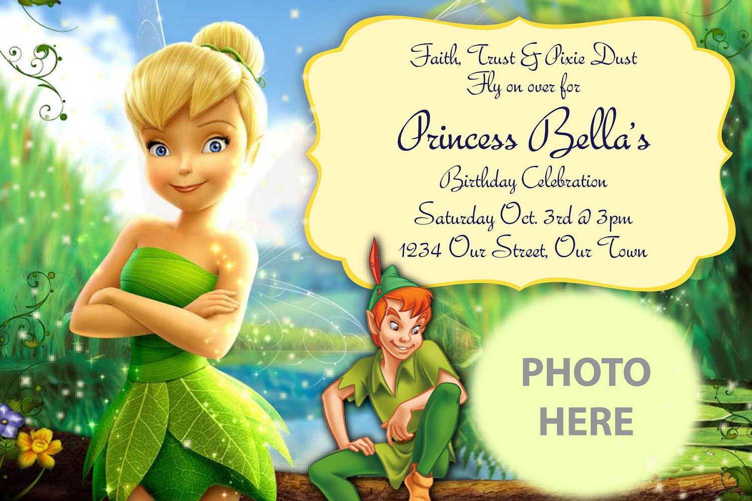 tinkerbell invitation digital file