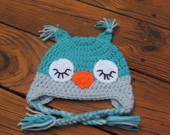 Crochet Sleeping Baby Owl Hat