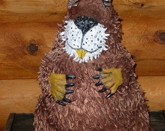 """Big Bucked Toothed Beaver 16"""" high 17"""" wide, Hand Sculpted in USA from a lump of clay no molds are ever used,  sold by Artist. ooak"""