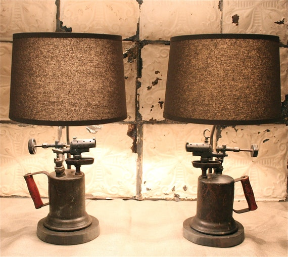 Vintage And Industrial Lighting From Etsy: Industrial Pair Of Lamps Made From Antique By DoormanDesigns