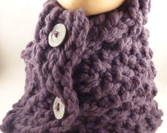 Knit winter scarf for woman, scarf with buttons, knit neck warmer, fashion scarf Ready to ship