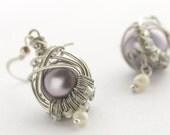 Handmade earrings, sterling silver hook wire -- elegant purple--hold for Sarah:)