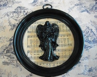 Recycled Syroco Black Frame Hymnal Sheet Music Angel, Book Page Art, Christian Art