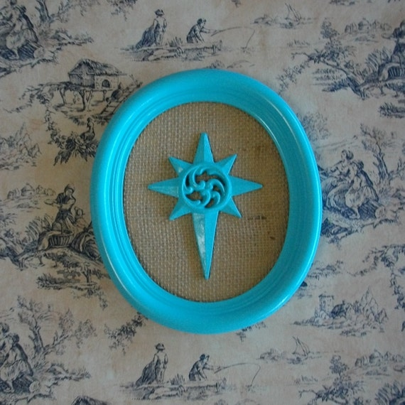 Upcycled Recycled Aqua Turquoise Beach North Star on Burlap