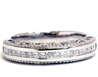1/2CT Diamond Anniversary Ring 14K White Gold Womens Princess Cut Wedding Band Size (4-9)