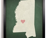 State Love Mississippi Print (Pictured In Forest Green) Giclee, Art Print 8 x 10